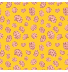 Human brains icons on yellow background seamless vector