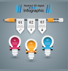 infographic education bulb light pencil icon vector image