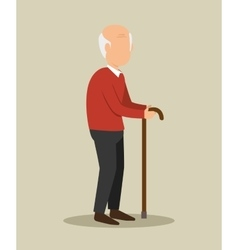 insurance man elderly with cane design vector image
