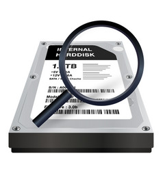 internal harddisk with a magnifying glass scanning vector image