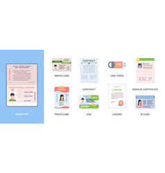 legal id passport personal documents credit vector image