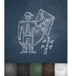 Man and kite icon Hand drawn vector