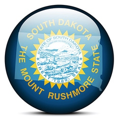 Map on flag button of USA South Dakota State vector