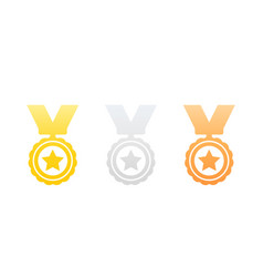 medals gold silver and bronze icons on white vector image