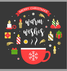merry christmas icon and warm wishes vector image