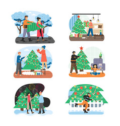 merry christmas scene set flat vector image