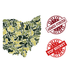 Military camouflage collage of map of ohio state vector