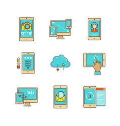 Minimal lineart flat mobile tech icon set vector