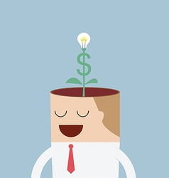 Money tree growing from businessman head vector