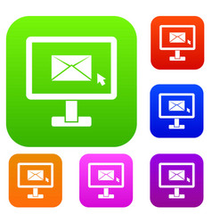 monitor with email sign set collection vector image