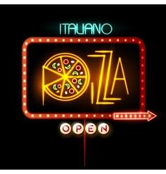 Neon sign pizza vector