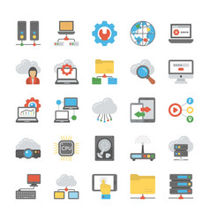 network and cloud computing flat icon vector image