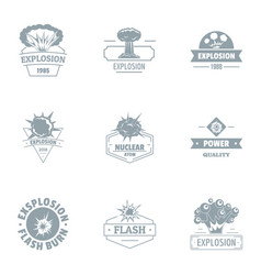 nuclear world logo set simple style vector image