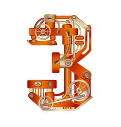 Numeral 3 of mechanic alphabet steampunk font vector