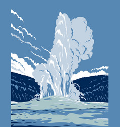 old faithful cone geyser in yellowstone vector image