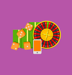 online gambling flat colored on vector image