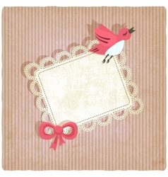 Pink retro background with bird vector