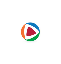 play button triangle circle colored logo vector image