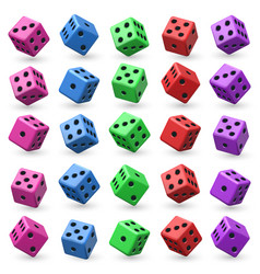 Playing dice set 3d cube with numbers for vector