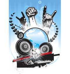 poster on a theme of music in a grunge style vector image