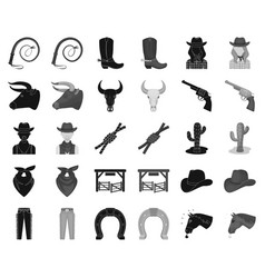 rodeo competition blackmonochrome icons in set vector image
