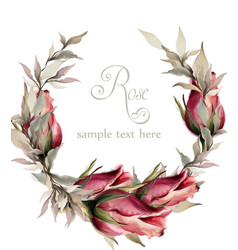 roses wreath watercolor spring summer vector image