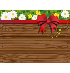 Rural background with fence and flowers vector image