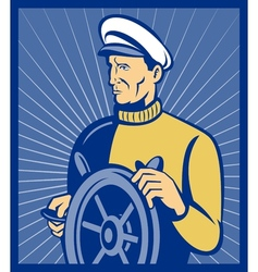Sea ship captain at the helm steering wheel vector image