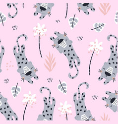 seamless pattern with cute leopards and tropical vector image