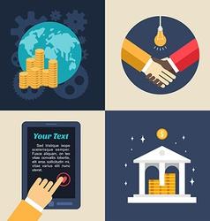 Set flat design business global economics bank vector