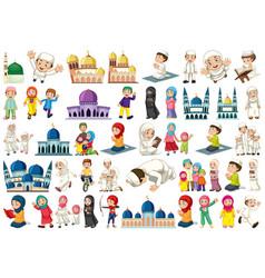 set muslim character vector image