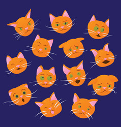 set of cat emotions vector image