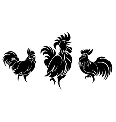 Set of cocks silhouettes vector image