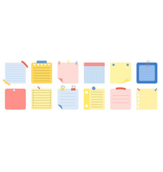 Set of different sticky paper notes on white vector