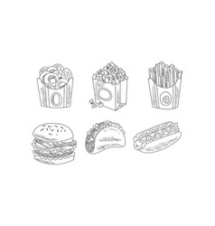 Set of hand drawn fast food icons bagels vector