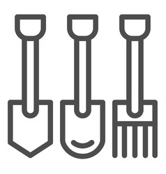shovels and pitchforks line icon farm equipment vector image