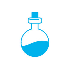 Silhouette erlenmeyer flak with chemical potion vector