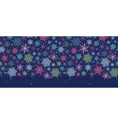 Snowflakes On Night Sky Horizontal Seamless vector image