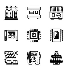 Solar energy supply icon set outline style vector