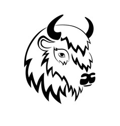 Stylized head of a buffalo with the horns on the vector