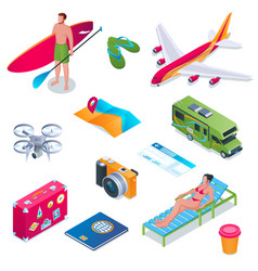 Summer vacation isometric icons 01 vector