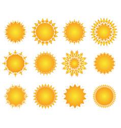 sun icon set geometric retro sunburst shapes vector image