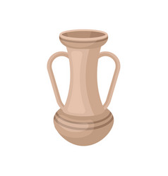 Tall beige jug with two handles antique clay vase vector