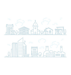 urban landscape linear small town with buildings vector image