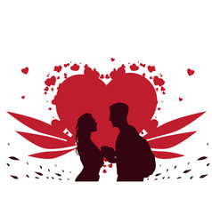 valentine day template greeting card silhouette vector image