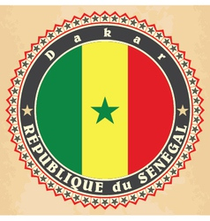 Vintage label cards of Senegal flag vector image