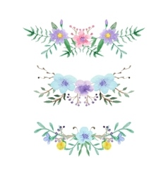 Watercolor floral border set vector
