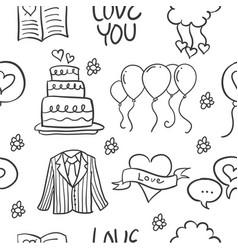 Wedding element doodles vector