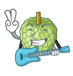 With guitar fresh custard apple sweet fruit vector