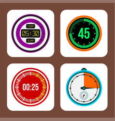 clock watches timer colorful measurement vector image